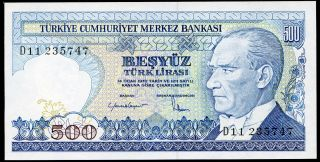 Turkey 500 Lira Law 1970 (1983) P - 195 Unc Uncirculated Banknote photo