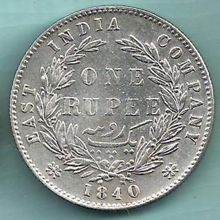 British India - 1840 - Victoria Queen - One Rupee - Rare Silver Coin photo