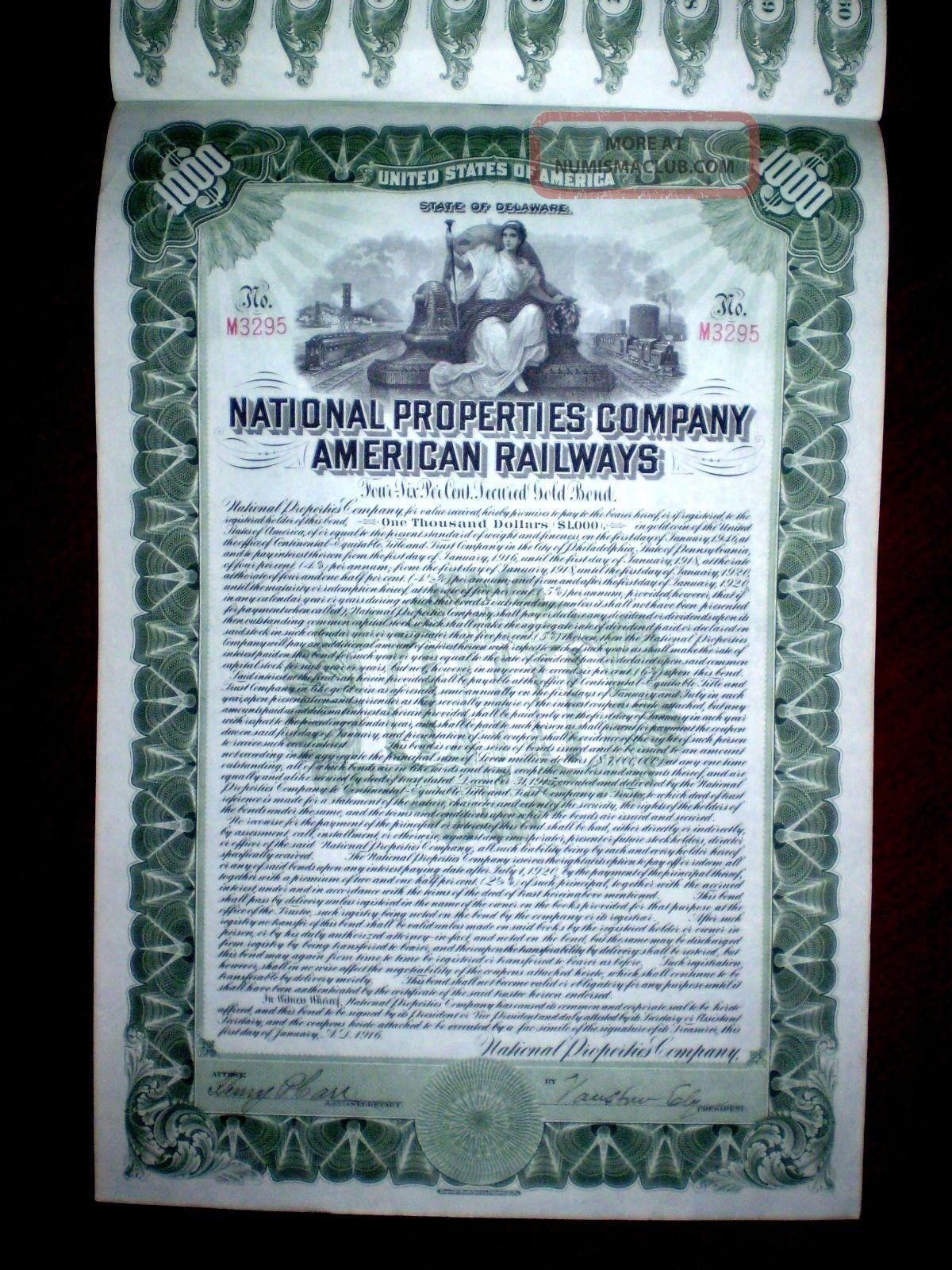 National Properties Company American Railways $1000 Gold Bond 1916 Stocks & Bonds, Scripophily photo