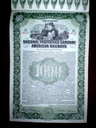 National Properties Company American Railways $1000 Gold Bond 1916 photo