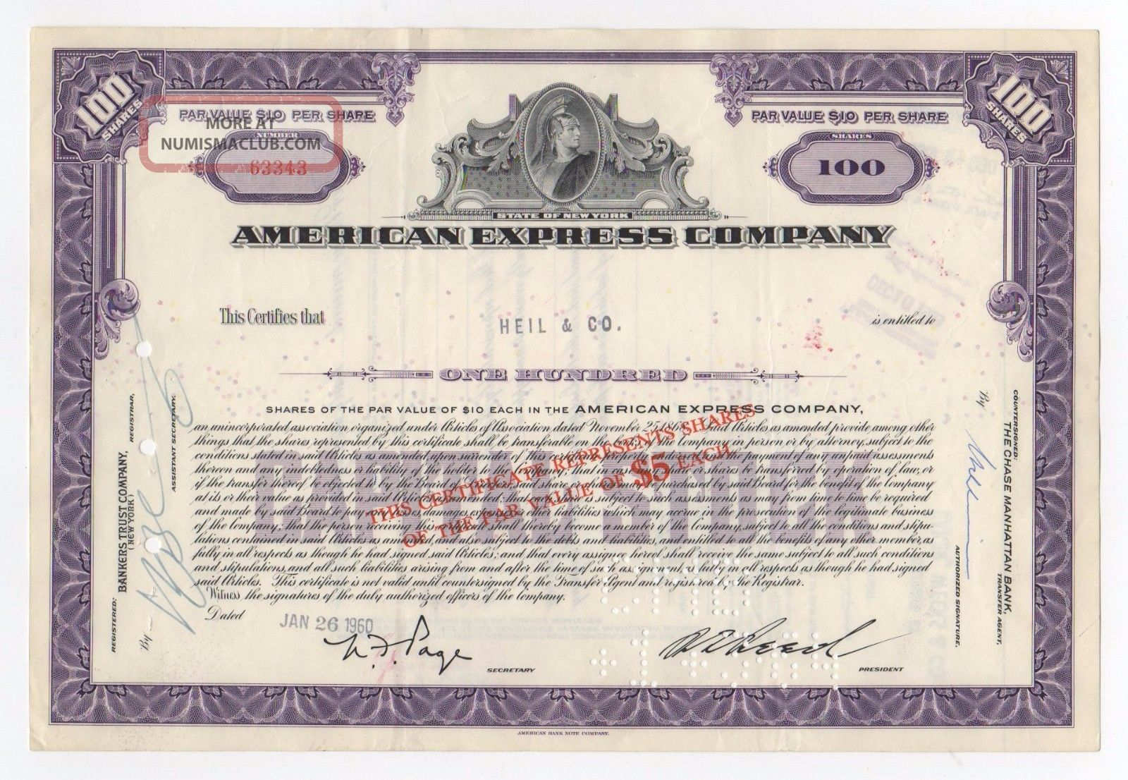 American Express Company Stock Certificate Stocks & Bonds, Scripophily photo