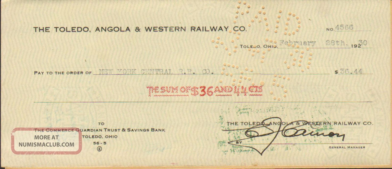 Toledo Angola & Western Railway Pay York Central Rail Road Bank Check 1930 Transportation photo
