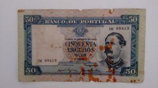 Rare Portugal 50 Escudos Note Ouro 1960 Im photo