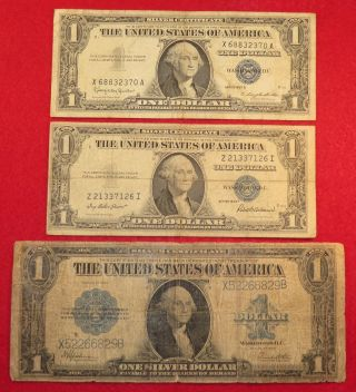 1923 Lg Note Silver Certificate,  1935f & 1957b All Serial Doubles - photo