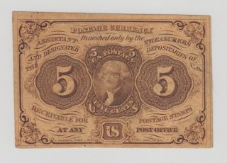 Us 5c First Issue Fractional Currency Note Fr1230 Vf photo