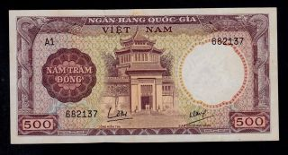 South Viet Nam 500 Dong (1964) A1 Pick 22a Xf Banknote. photo