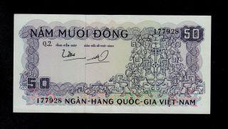 South Viet Nam 50 Dong (1966) Q2 Pick 17 Au Banknote. photo