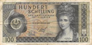 Austria 100/ - 2.  1.  1969 Block Ha Circulated Banknote,  E1 photo