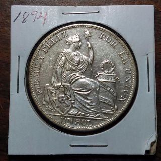 Peru 1894 Silver Un Sol - Au / Uncirculated - Coin - A photo