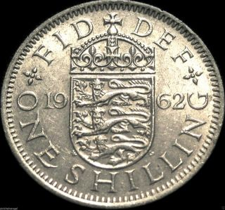 Uk - Great Britain - British 1962 Shilling Coin - Great Coin - Elizabeth Ii photo