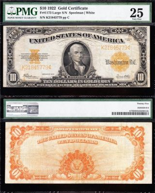 Bold & Crisp Vf 1922 $10 Gold Certificate Pmg 25 K21845779 photo