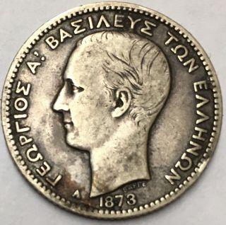 Kingdom Of Greece,  George I 1873 Drachma Silver Coin photo