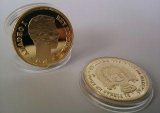 Espana 1871 - Moneda I 100 Pesetas Gold Plated Coin - Souvenir Craft 1pcs photo