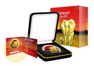 2015 1 Oz Fine Silver Elephant Somalia African Sunset 24k Gold Gilded Box&coa photo