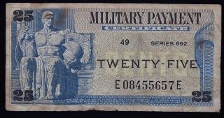 Us Military Payment Certificate Mpc Series 692 25 Cent E08455657e photo