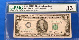 1950 E $100 Federal Reserve Note San Francisco Pmg 35 photo