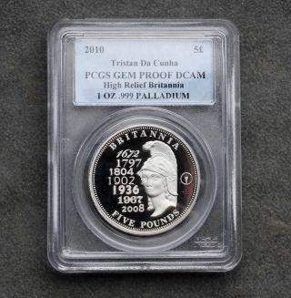 2010 1 Oz Palladium Tristan Da Cunha 5 Pounds Pcgs Gem Proof Dcam High Relief photo