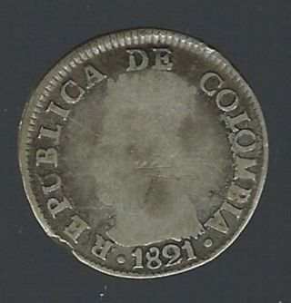 1821 Ba Jf Republic Of Columbia Silver 2 Reales photo