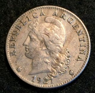 1921 Argentina 20 Centavos Ced Liberty Coin Xf Photo