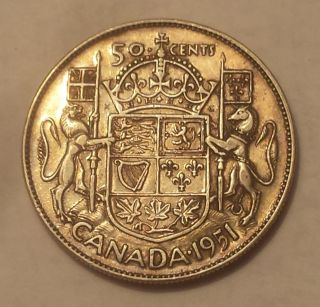 1951 Canada 50 Cents Coin (80 Silver) - King George Vi photo