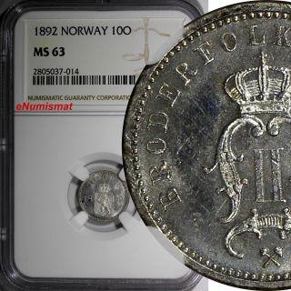 Norway Oscar Ii Silver 1892 10 Ore Ngc Ms63 Norwegian Lion Km 350 photo