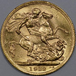 Great Britain,  1912 Gold Sovereign,  George V (s - 3996) photo