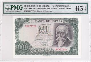Spain 1971 (nd 1974) 1000 Pesetas P154 Pmg 65 Gem Unc Epq photo