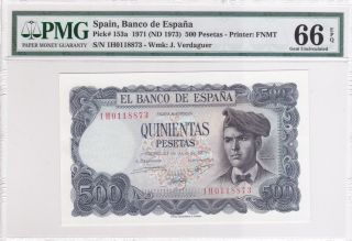 Spain 1971 (nd 1973) 500 Pesetas P153a Pmg 66 Gem Unc Epq photo