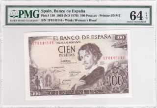 Spain 1965 (nd 1970) 100 Pesetas P150 Pmg 64 Choice Unc Epq photo