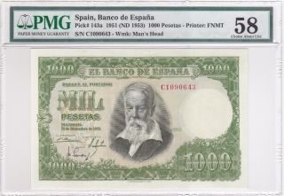 Spain 1951 (nd 1953) 1000 Pesetas P143a Pmg 58 Choice About Unc photo