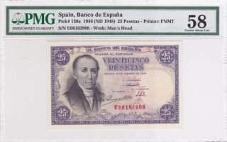 Spain 1946 (nd 1948) 25 Pesetas P130a Pmg 58 Choice About Unc photo