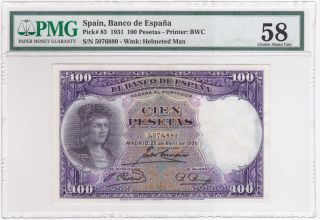 Spain (1931) 100 Pesetas P83 Pmg 58 Choice About Unc photo