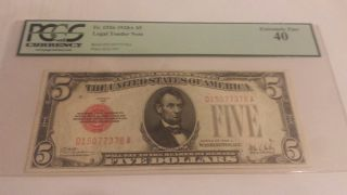 1928 A Legal Tender $5 Pcgs 40 Ppq Extremely Fine photo