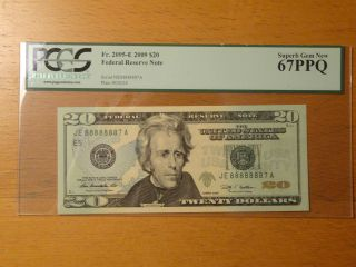Lucky $20 Federal Note Fancy Serial Near Solid 8 88888 888888 8888888 88888887 photo