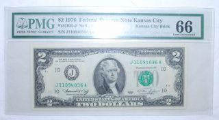 1976 $2.  00 Federal Reserve Note - Kansas City - Pmg - Gem Uncirculated 66 - 036a photo