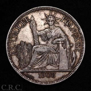 1908 French Indo China 1 Piastre Silver Trade Dollar photo