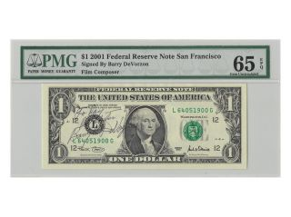 Us Currency Signed By: Berry Devrzon Film Compressor 2001 Pmg - 65 photo