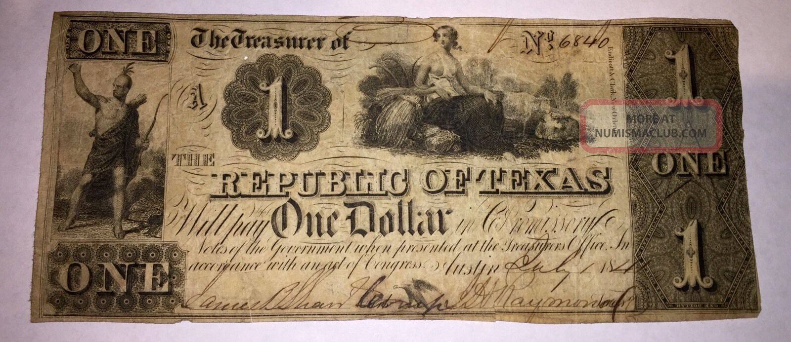 Republic Of Texas $1 July 1,  1841 A 6840.  Issued In Austin.  Circulated Paper Money: US photo