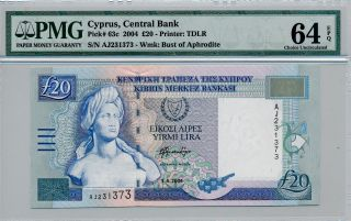 Central Bank Cyprus 20 Pounds 2004 Pmg 64epq photo