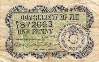 Fiji 1 Penny 1.  7.  1942 Ww Ii Issue Circulated Banknote photo