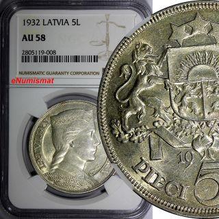 Latvia Silver 1932 5 Lati Ngc Au58 Better Date Mintage - 600,  000 Milda Km 9 photo
