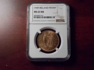 1949 Ireland Penny Copper Coin Ngc Ms - 63 Rb photo
