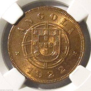 Angola 5 Centavos 1922 Ngc Ms63 Uncirculated photo