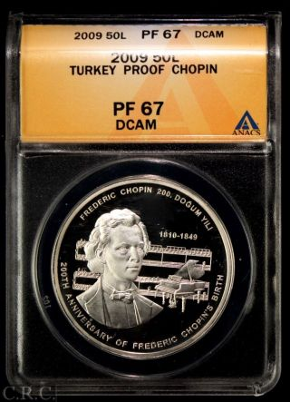 2009 Turkey 50 Lira Silver Proof Anacs Pf67 Chopin photo