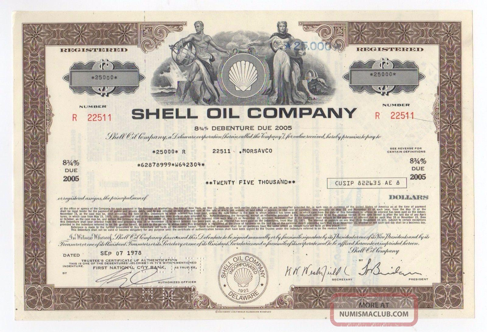 Shell Oil Company Bond W/vignette Of Man & Woman Stocks & Bonds, Scripophily photo