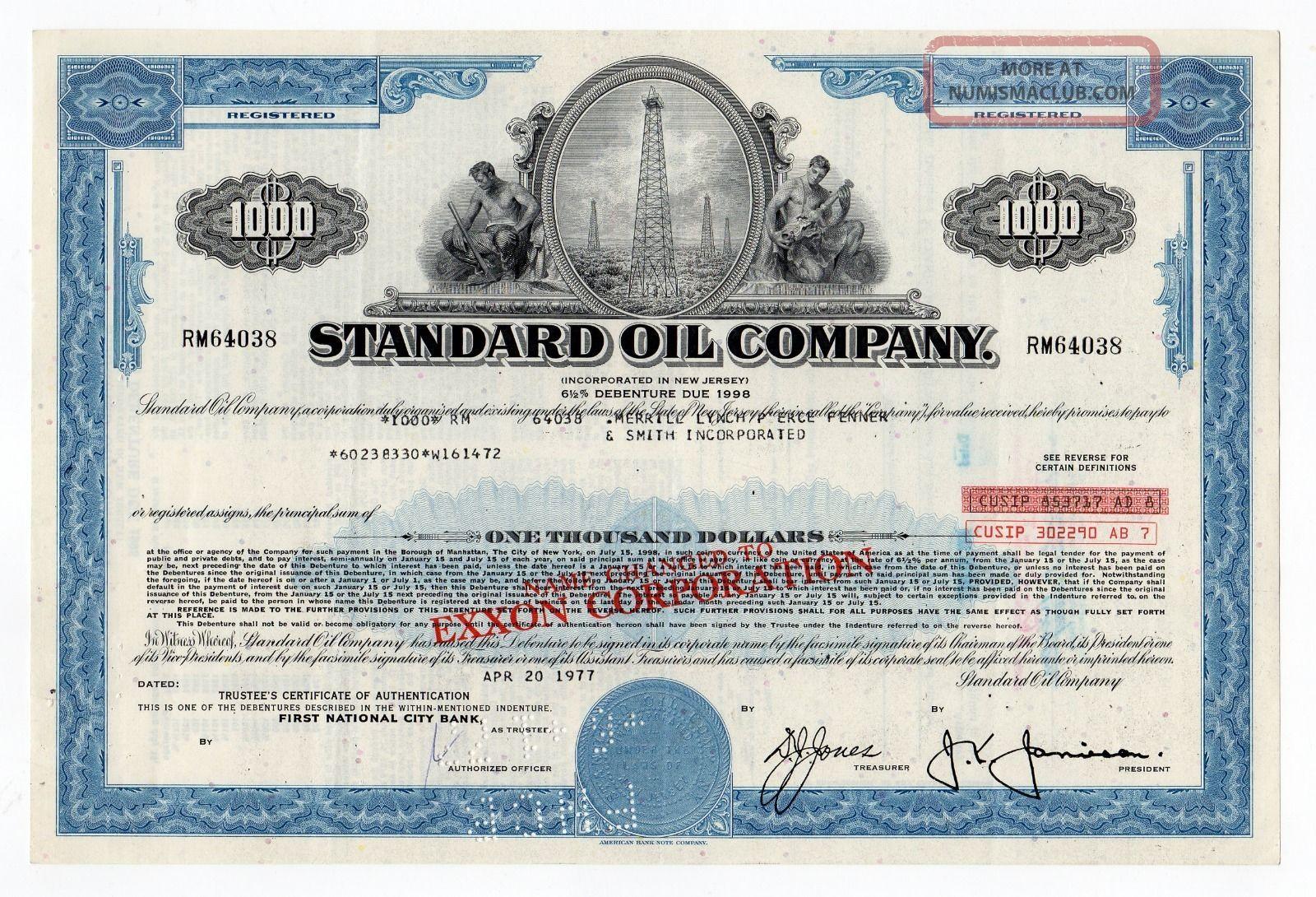 Standard Oil Company Bond W/oil Rig Vignette Stocks & Bonds, Scripophily photo