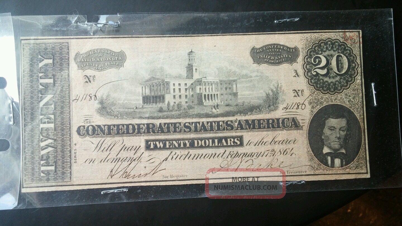 1864 Confederate States America $20 Twenty Dollar Bill Civil War Currency Note Paper Money: US photo
