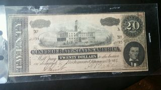 1864 Confederate States America $20 Twenty Dollar Bill Civil War Currency Note photo