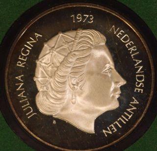 1973 Netherlands Antilles Queen Juliana 25f W/box U.  S. photo