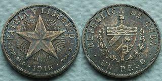 1916 Caribbean Silver 1 Peso Patria Y Libertad Xf Patina Better Date Nr photo